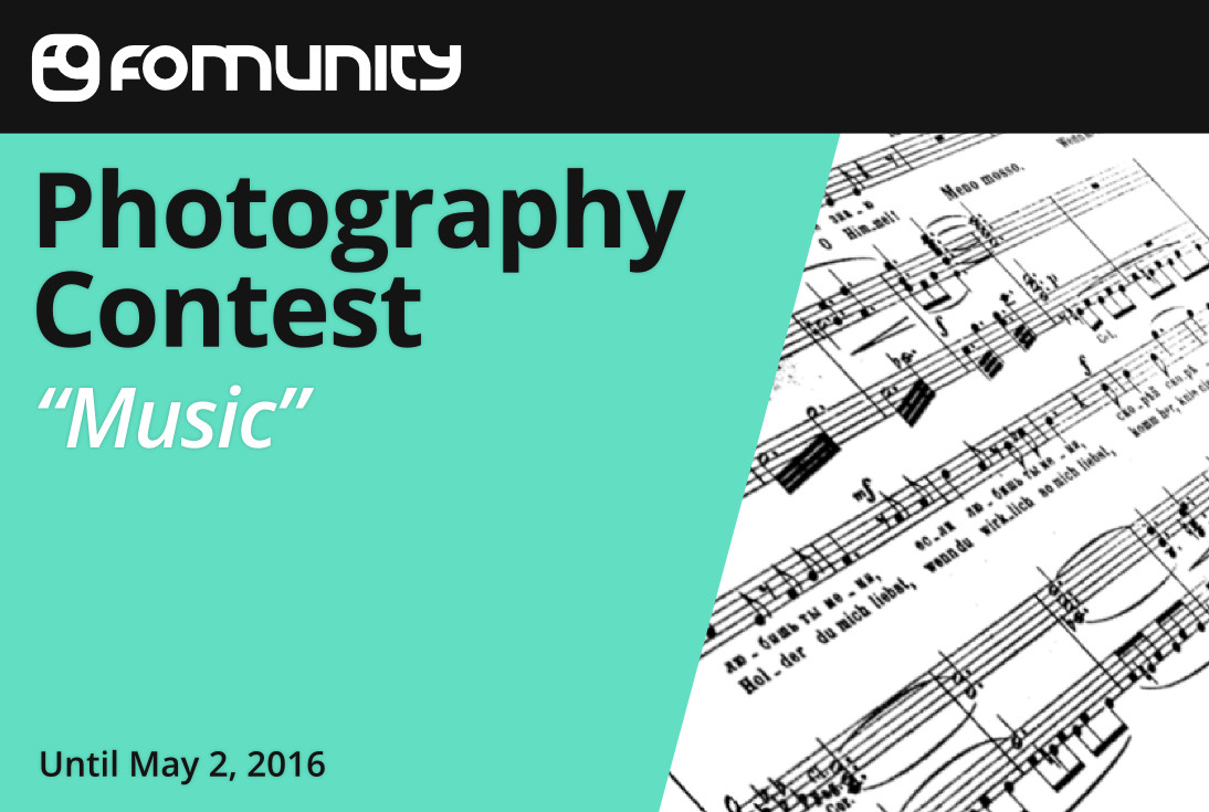 """Music"" photography contest by Fomunity - logo"